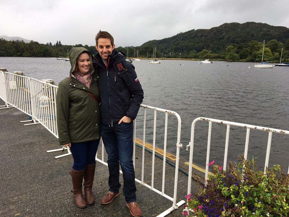 Steve and I waiting for the boat at Lake Windermere