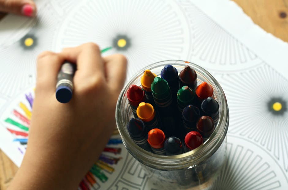 Colouring in with crayons