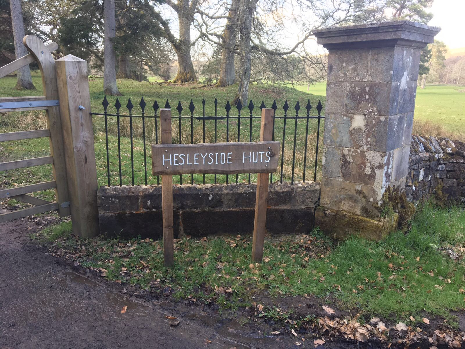 The entrance gate to Hesleyside Huts