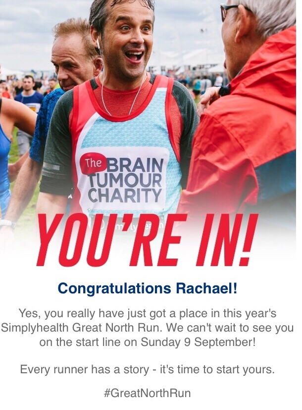 My confirmation of my place in the Great North Run