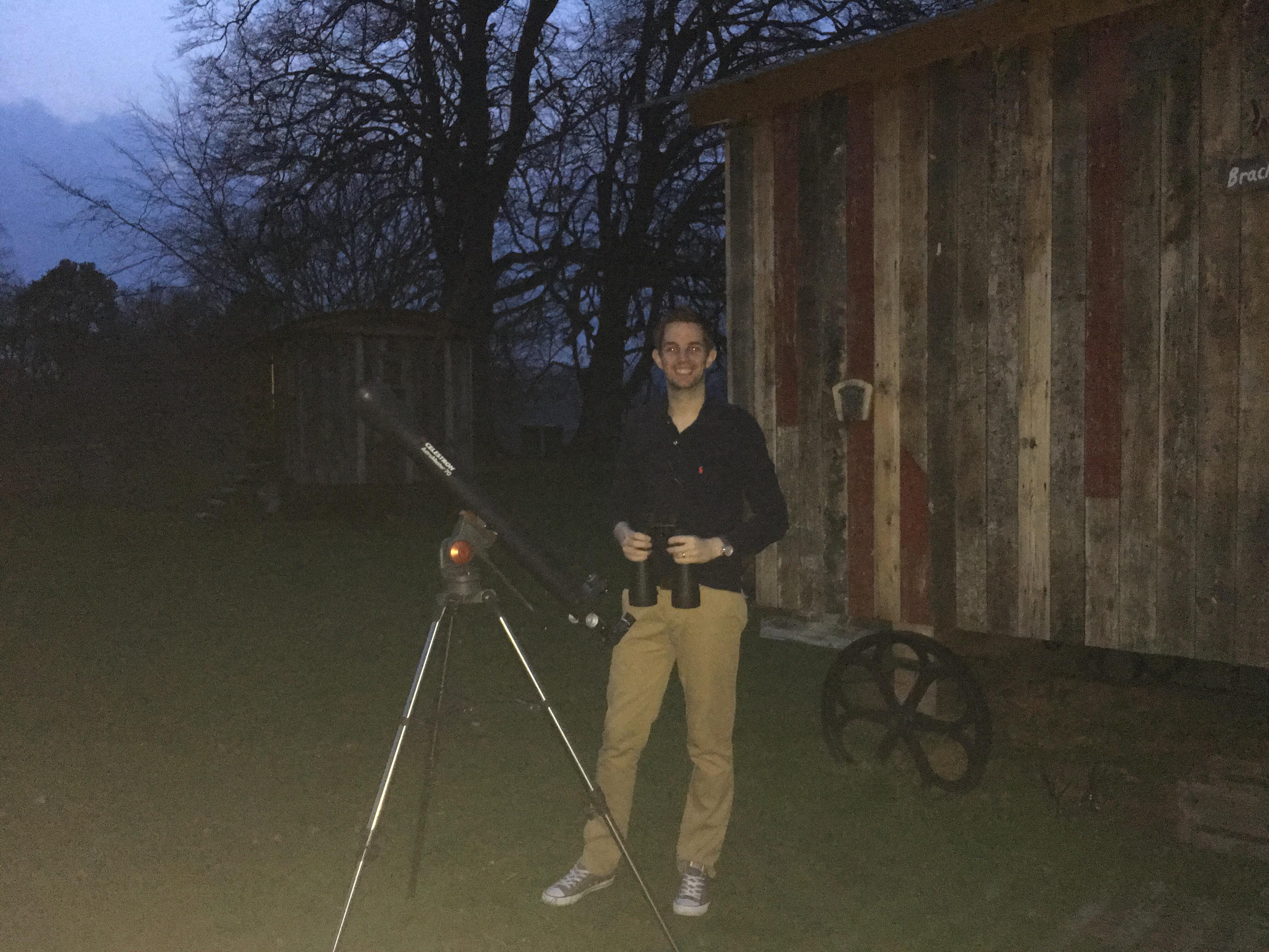 Steve setting up our stargazing equipment