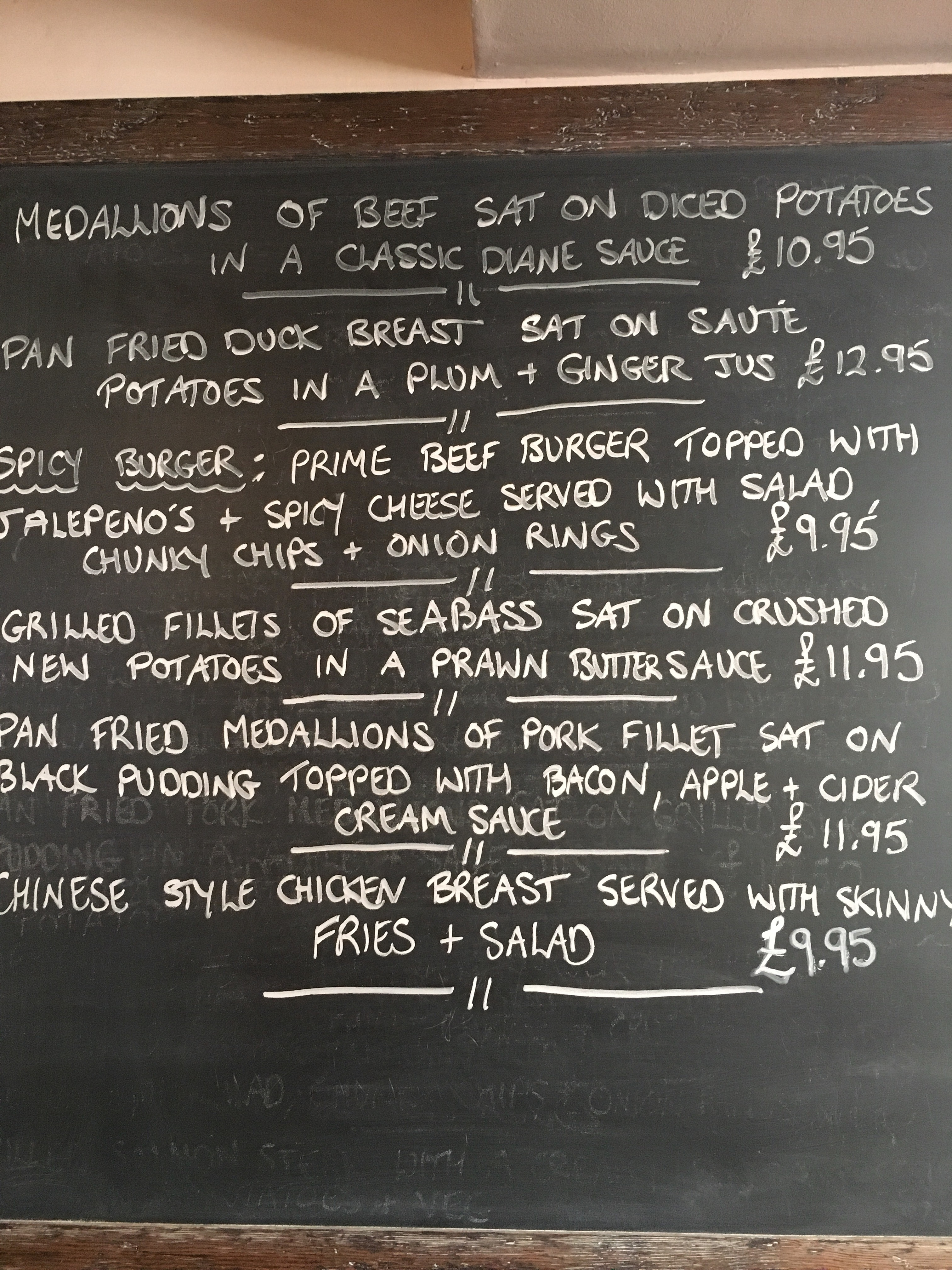 The Miners Arms specials board