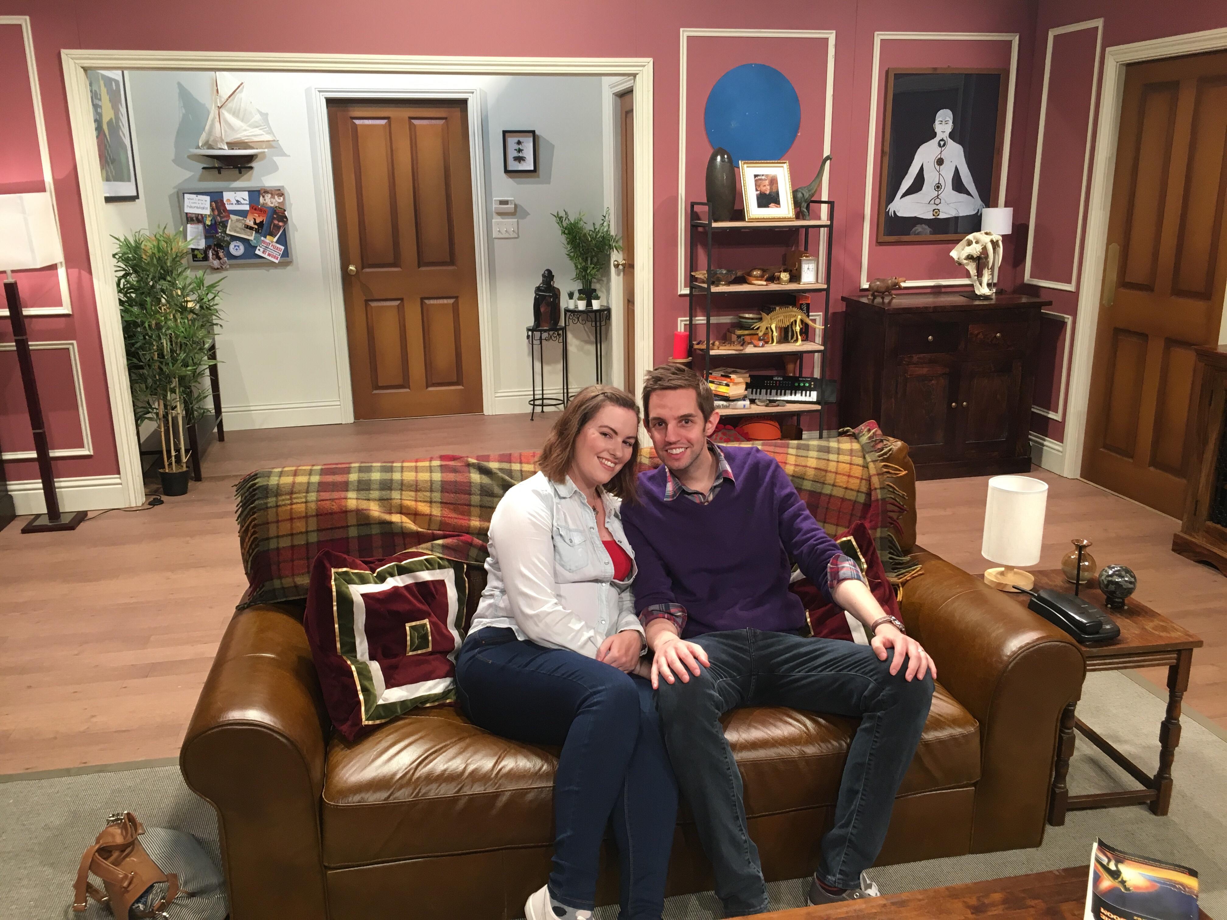 Sitting on Ross's sofa